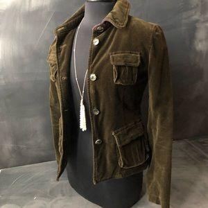 Ann Taylor Loft Olive Velvet Quilted Lining Jacket